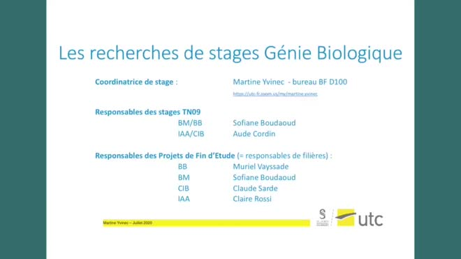 La recherche de stage en Génie Biologique